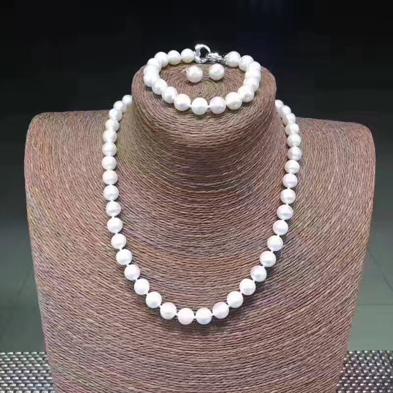 Sinya DIY Wear Natural Round Freshwater Pearl Strand Necklace Bracelet Earring Set 925 sterling silver clasp