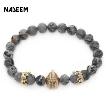 Newest Marble Stone Bead Gold-Color Gladiator Spartan Helmet Charm & Crown Charm Elastic Yoga Bracelet Jewelry Pulseras Hombre(China)