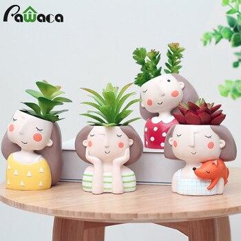 Lovely Girl Cartoon Design Resin Plant Flower Pot Succulent Container Planter Bonsai Pot Flowerpot Desktop Craft Home Decoration