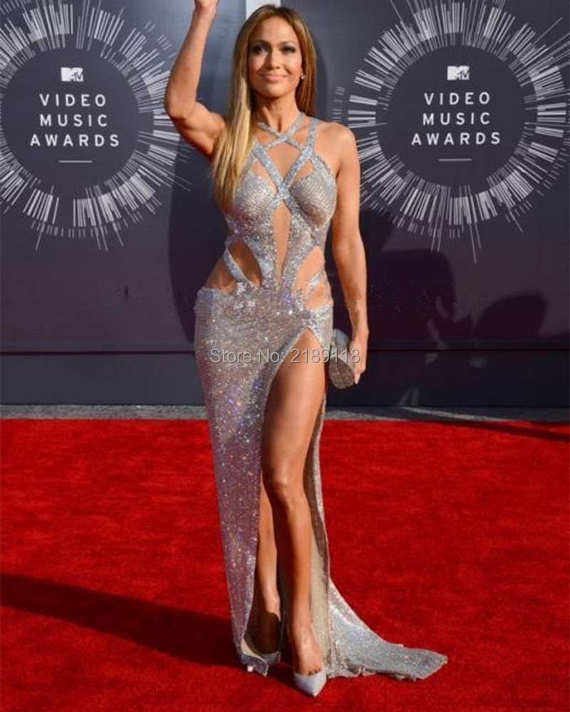 Hot Sale Jennifer Lopez 2016 Luxury Sexy Prom Dresses With Criss Cross Straps Split Sequined Silver Red Carpet Celebrity Dresses(China)