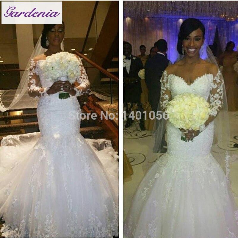 Real Customer Show Long Sleeve Satin Wedding Dress Mermaid Bridal ...