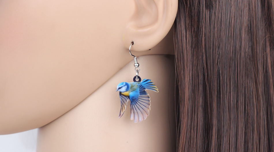 Bonsny Acrylic Flying Voilet Sabrewing Hummingbird Bird Earrings Big Long Dangle Drop Fashion Animal Jewelry For Women Girls Kid 11