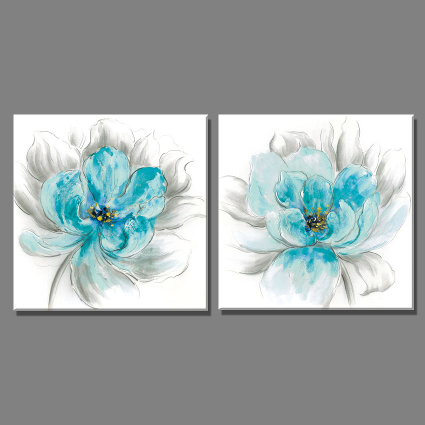 Home Decor Wall Painting Canvas Art print pictures for living room 2 Piece Light blue and gray flower sketch oil painting