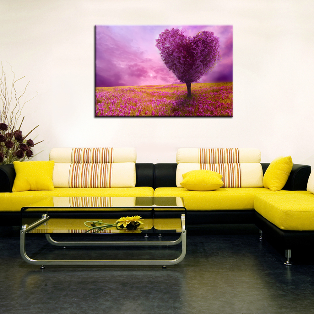 Scenery Paintings Canvas Purple Loving Heart Trees Modern Wall ...