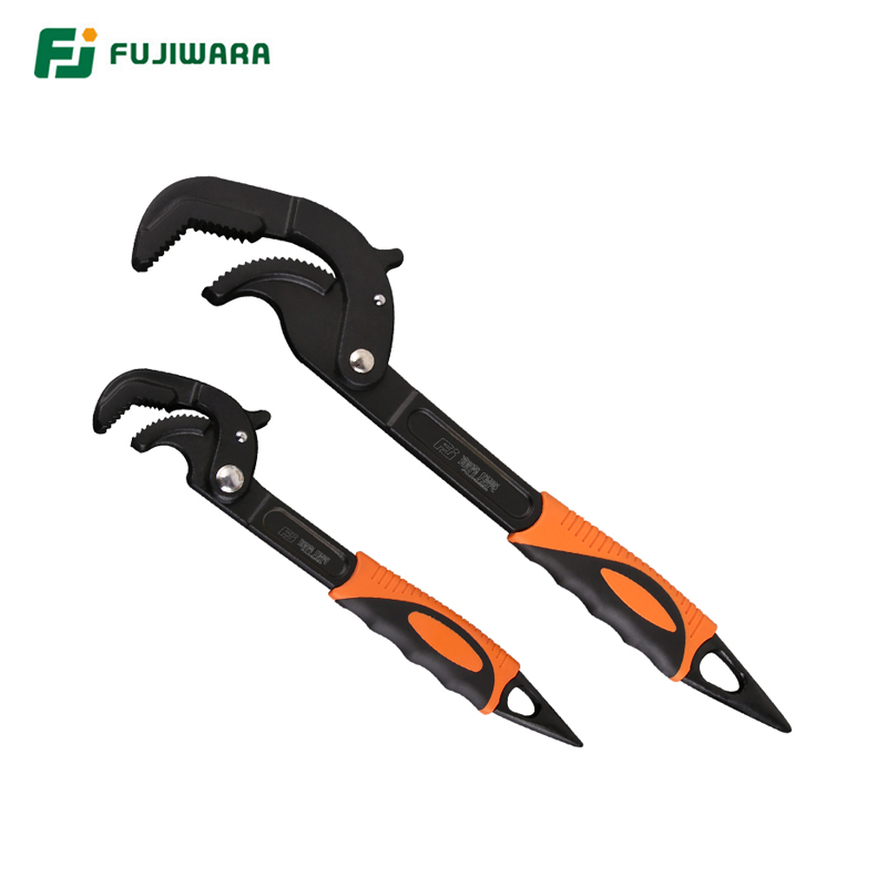 Universal Quick Pipe Wrench FUJIWARA Self Adjusting Pipe Wrench Set With Cast Iron Body (2 Pieces) 14-30mm 30-60mm