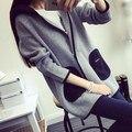 Alta calidad del invierno mujeres de suéter de punto cardigan jacket nueva mujer larga sección suéter con capucha mujer abrigo de manga larga tirón