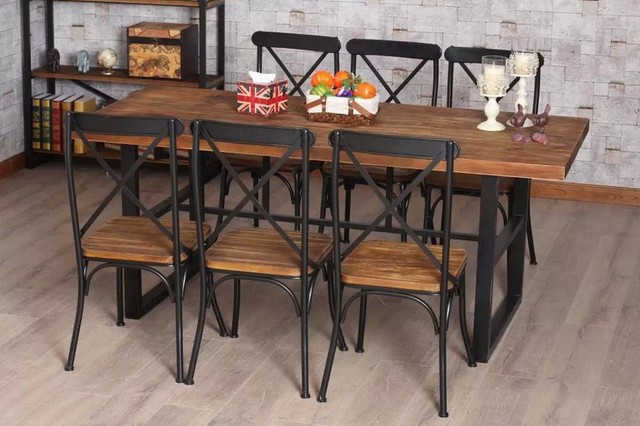 País francés mesa de pino viejo estilo retro banco de madera de ...