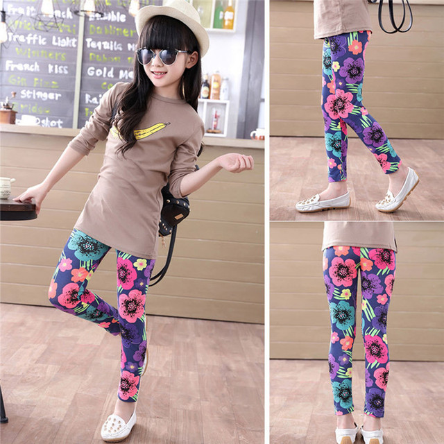 5a85ec29f39d0 girl pants new arrive printing Flower girls leggings Toddler Classic  Leggings 2-14Ybaby girls leggings kids leggings White