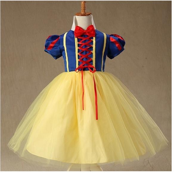 Supercos Store Free Shipping ! Newest ! Snow White Children Kids Cosplay Princess Dress Costume Perform Clothes