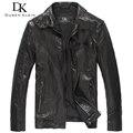 2016 New Motorcycle leather jacket men Brand Genuine sheepskin Autumn/Slim Designer Outerwear leather Coat DK131
