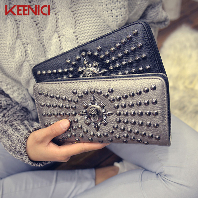 Women Fashion High Quality Skull Wallet Personality Clutch Bags Rivets PU Leather Purse Zipper Card Holder Punk Wallets 2016 2017 women lady cute rabbit ears long wallet clutch pu zipper soft card holder purse pocket free shipping high quality p363