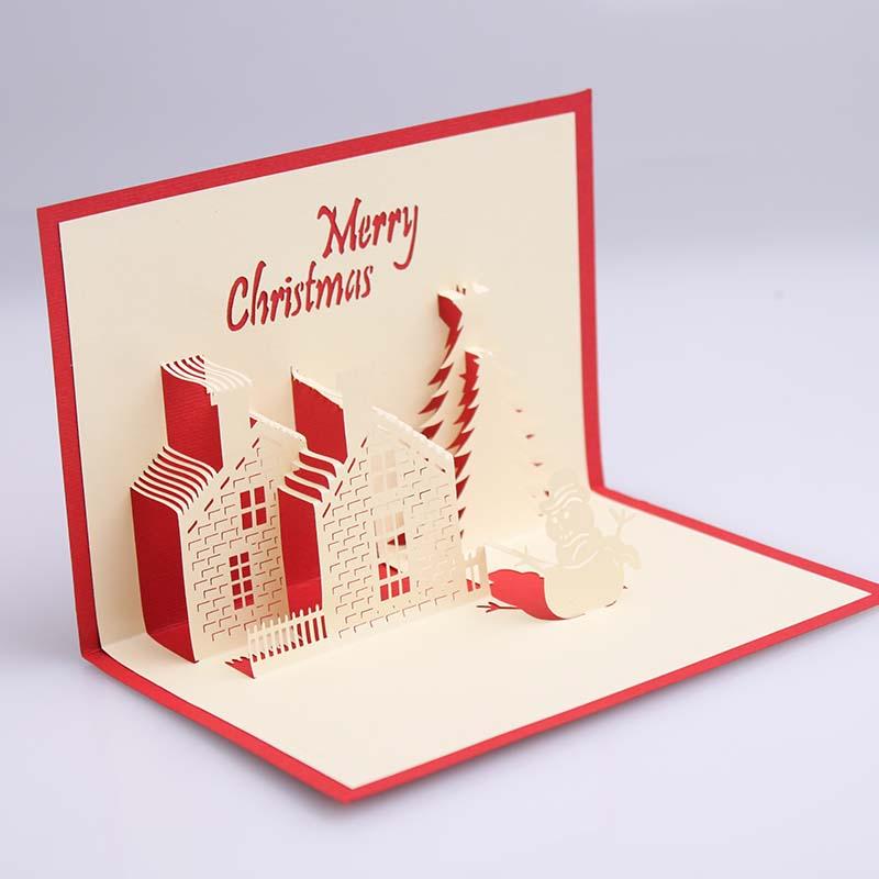 Creative 3D diy handmade Christmas card winter castle 3D three ...