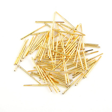 цена на R75-2W 100PCS Gold Color Brass Flat Head Pin for PCB Testing Spring Test Probe Pins Receptacles Dia 1.32mm Length 24.5mm