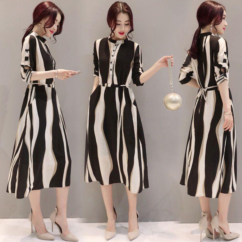 Femmes géométrique rayures mousseline de soie robe col montant mince ceintures Elbise élégant bureau dame Vestidos de Feminino Otono LR07