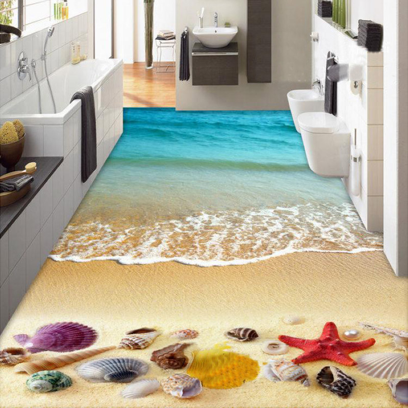 Custom 3D Floor Mural Wallpaper Bedroom Beach Shells Starfish Living Room Bathroom 3D Floor Painting Self Adhesive Waterproof