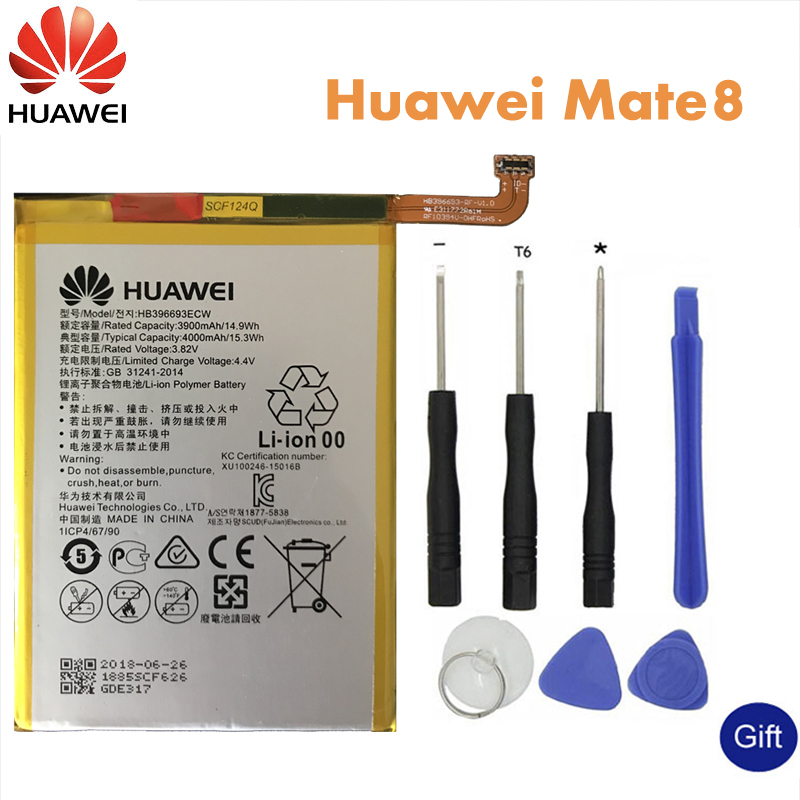 Huawei Original Phone Battery HB396693ECW For Huawei Mate 8 NXT-AL10 NXT-TL00 NXT-CL00 NXT-DL00 Replacement Batteries 3900mAh