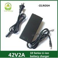 42v2a alta quanlity lítio carregador de bateria 36 v li-ion & li-po carregador de bateria para ebike com dc5.5 * 2.1 & 5.5*2.5 cecertification