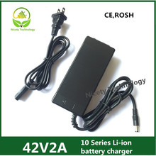 Cargador de batería de litio de alta calidad, 42V2A, 36V, Li ion y li po, cargador de batería para bicicleta eléctrica con cc 5,5x2,1 y 5,5x2,5, certificación ce