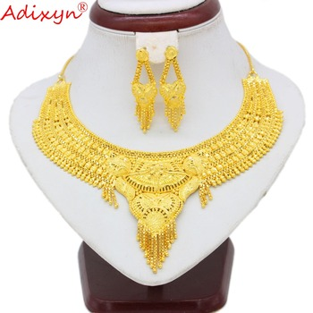 Adixyn African Necklace/Earring Sets Jewelry For Women/Girls Gold Color Exquisite Jewelry Arab/Ethiopian Party Gifts N100711