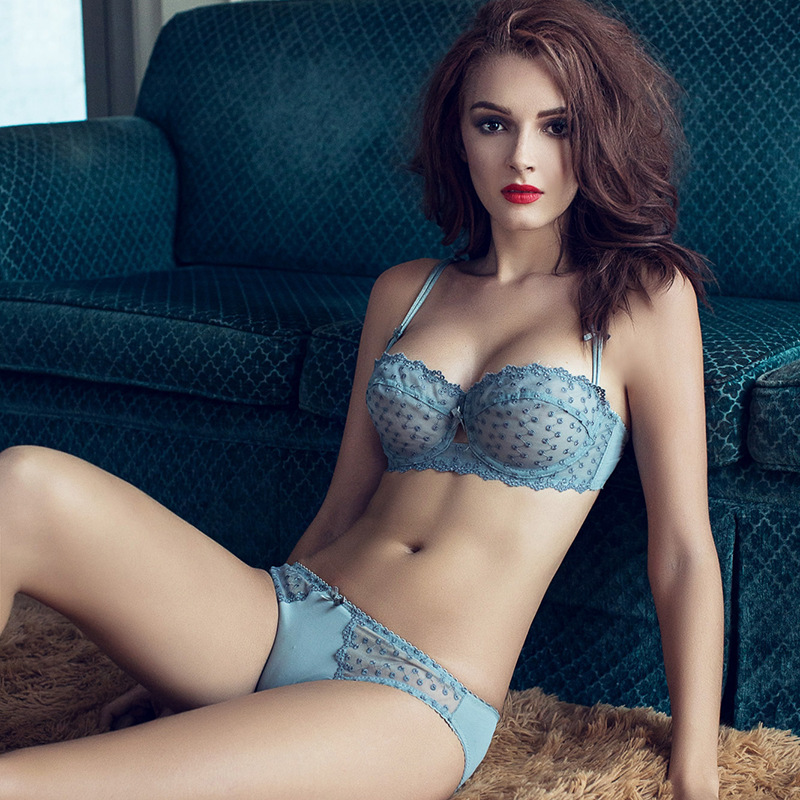 Ultra thin Half Cup Embroidery Bra Set Extreme Sexy Lace Ballet Bra Sets with Brief Transparent Solid Color Black White Gray