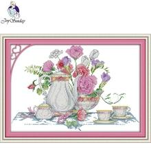 Joy Sunday,Rose table,Chinese cross stitch embroidery set,printing cloth embroidery,cross pattern,cross needlework