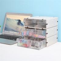 1 Layer Plastic Storage Drawer Minimalist Office Desk Storage Drawer Organizer Makeup Sundries Paper Document Container Home