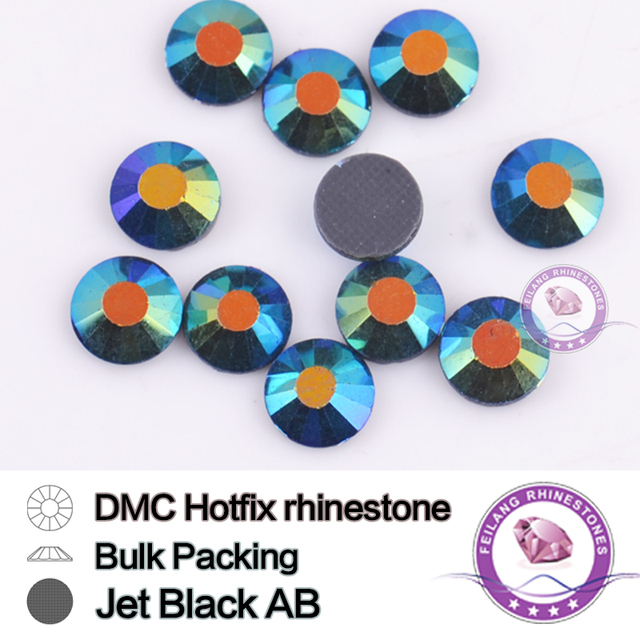 Jet Black AB SS16 SS20 SS30 Bulking Packing HotFix Rhinestone For Garments Bags And Shoes