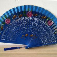 Винтажный выдолбленный испанский розовый складной веер для танцев, деревянный ручной цветок, бамбуковые вентиляторы, резьба, ремесло, подарки