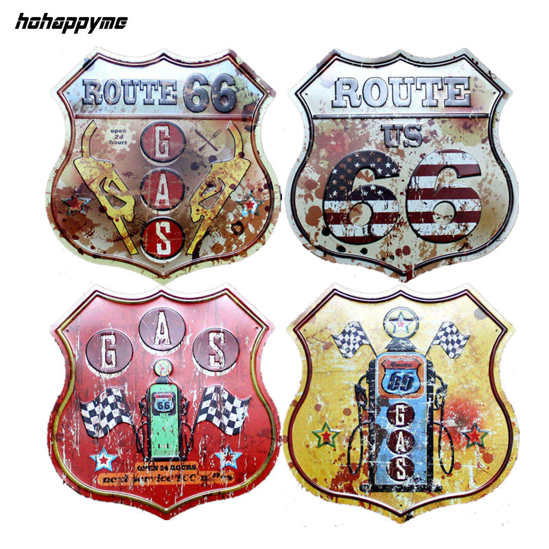 Shield Shape Route 66 Metal Sign Tin Кофе Pub Галерея Клуб Галерея Плакат-кеңестер Vintage Plaque Wall Cafe Дизайн Плитасы