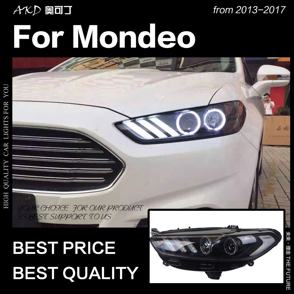 AKD Car Styling for Ford Fusion Headlight 2013 2017 Mondeo DRL Mustang Design Hid Dynamic Signal
