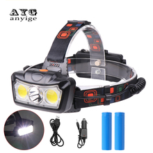 ANYIGE Rechargeable Headlight 4-Mode Headlamp T6 COB LED Head Lamp Flashlight Torch 2019 New Fishing Light Lantern 18650 Battery boruit t6 4 q5 led motion sensor headlamp 60000lumens rechargeable headlamp 4 mode zoom head torch by 18650 battery flashlight