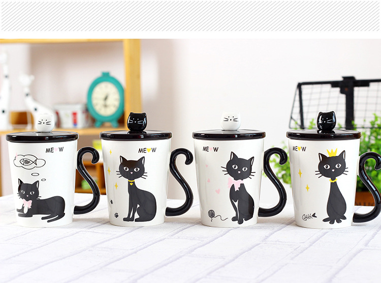 Cute Cat Tail Handle Ceramic Mug