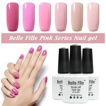 BELLE FILLE UV Gel Polish Princess Pink Color Gel Long Lasting Pure Pink Series Glaze Polish for Nail Makeup UV Lamp to Dry