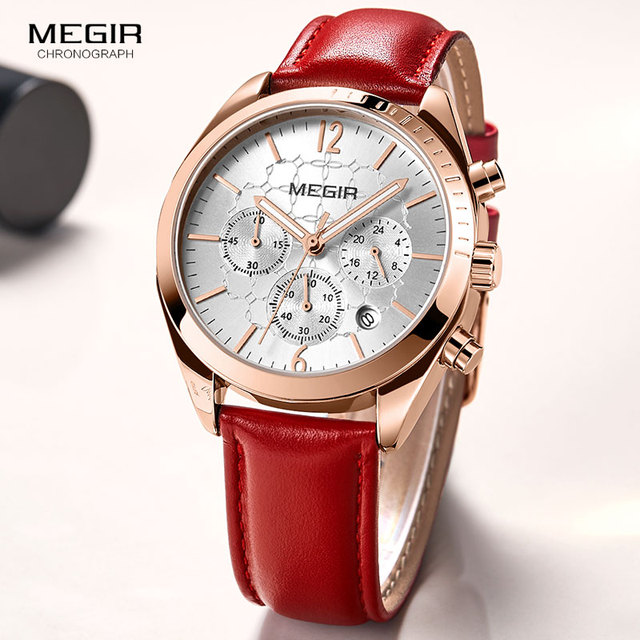6db31780679 Megir Women s Leisure Quartz Watches 24 Hours Leather Strap Waterproof  Chronograph Wristwatch Lady Relogios Femininos 2115 Red