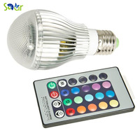 High Quality 9W RGB LED Bulb AC85 265V E27 Color Changeable RGB LED Lamp With IR