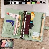 K KBook Luxury Genuine Oil Wax Leather Notebook Spiral Loose Leaf Planner Organized Diary Notepad School