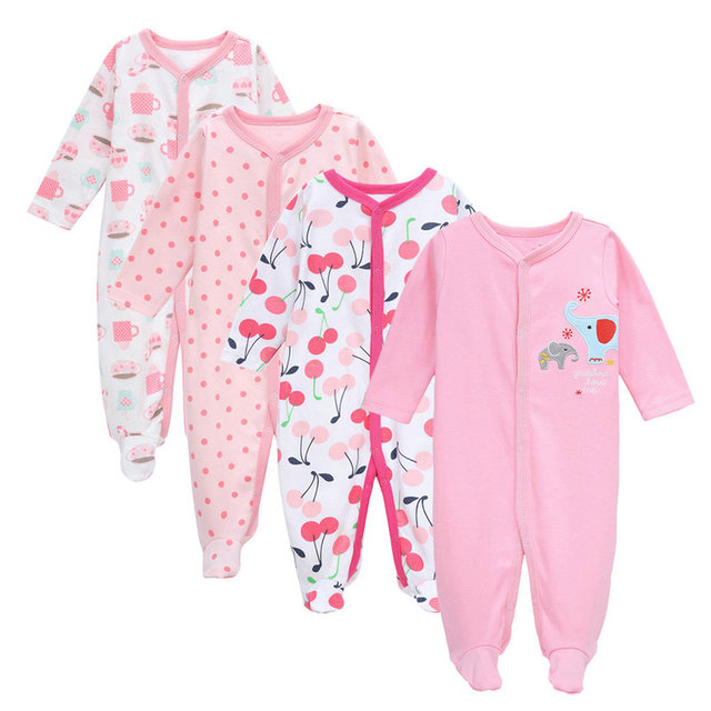 4efb59c46b73 4 Pcs set tender Babies fashion romper girl cotton clothes newborn ...