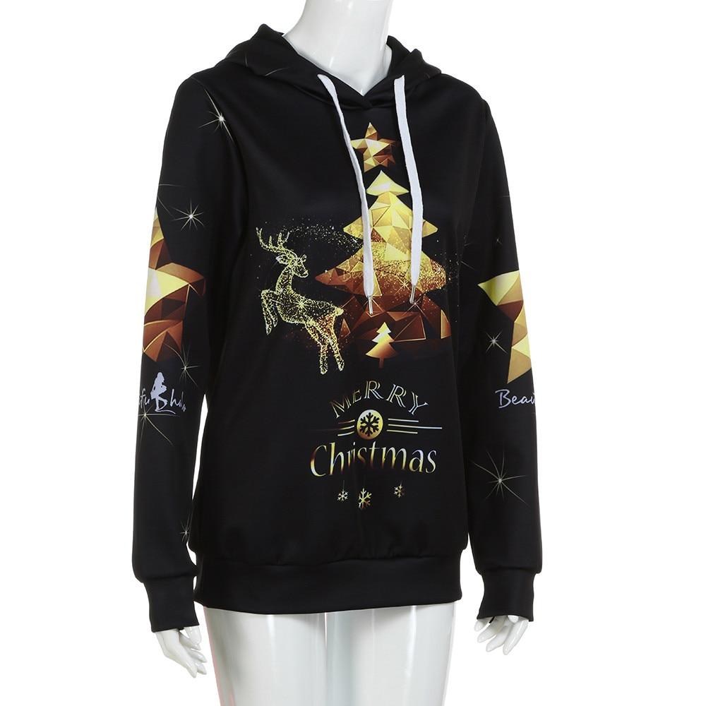 Christmas Outfits Women Digital Printing Hoodie Baseball Coats Sweats Long Sleeve Hooded Girls Lady Clothes New Fashion