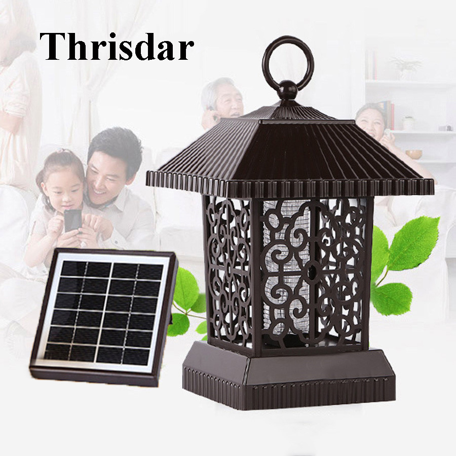 Thrisdar Upgrade USB / Solar Powered LED Mosquito Killer UV Light Electric Anti-Mosquito Insect Killer Outdoor Camping Light household solar mosquito killer outdoor electric shock killer led lighting anti mosquito dual mute radiation free