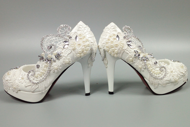 Ms heel white ivory lace crystal pearls Wedding shoes pumps bride size 2-8