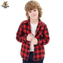 Boys Shirt Children Clothes Long-Sleeve School-Trend Kids Cotton New-Fashion Plaid