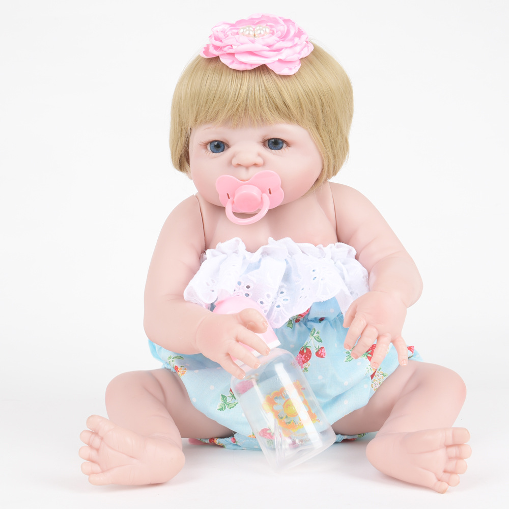22 Inch Soft Full Silicone Reborn Baby Doll Newborn Princess Girl Dolls for Children Kids Toy Birthday Xmas New Year Gift 22 inch soft full silicone vinyl reborn baby doll lovely sleeping girl dolls for children kids toy birthday xmas new year gift