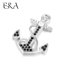 Stainless Steel Anchor Charms Rhinestone DIY Accessories Necklace Pendant Bracelet Hooks Findings Jewelry Making Supplies Parts