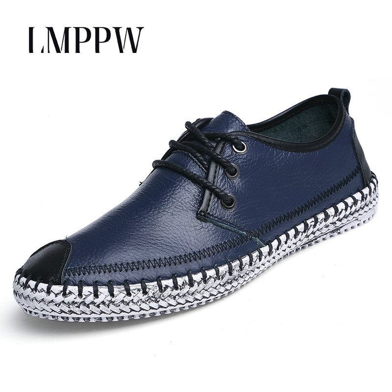 High Quality Men Flats Casual Leather Shoes Fashion Handmade Breathable Men Shoes Soft Moccasins Outdoor Zapatos Hombre Big Size male casual shoes soft footwear classic men working shoes flats good quality outdoor walking shoes aa20135