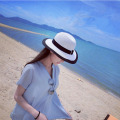 2016 wholesale fashion canopies Seaside women's logo sun hats, women's folding straw beach hat wide brim