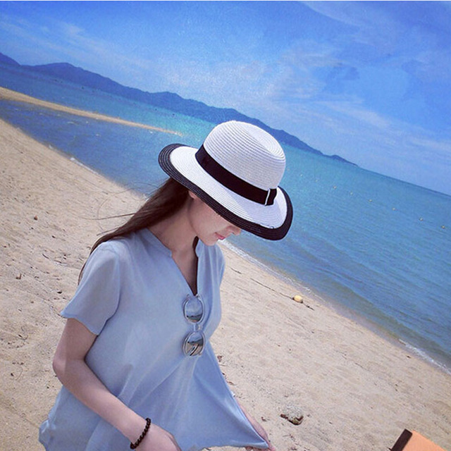 2016 wholesale fashion canopies Seaside women's logo sun hats, women's folding straw beach hat wide brim