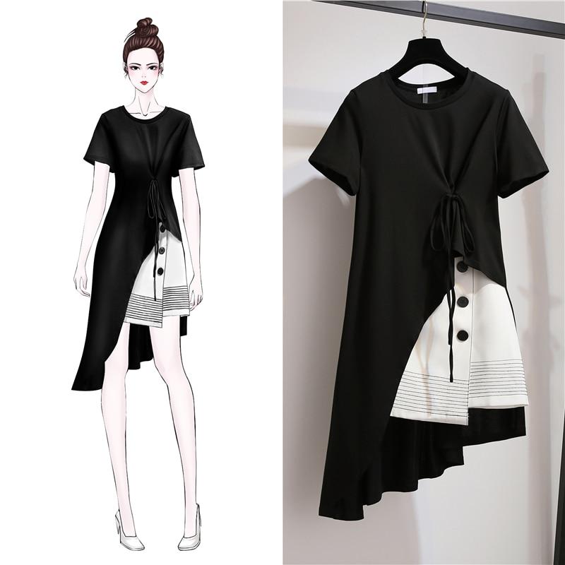 Fashion Korean Plus Size Women Set Dress Summer Dress 2019 New Women Short Sleeve 2 Piece Set Casual Women Short Skirt Suit 3XL