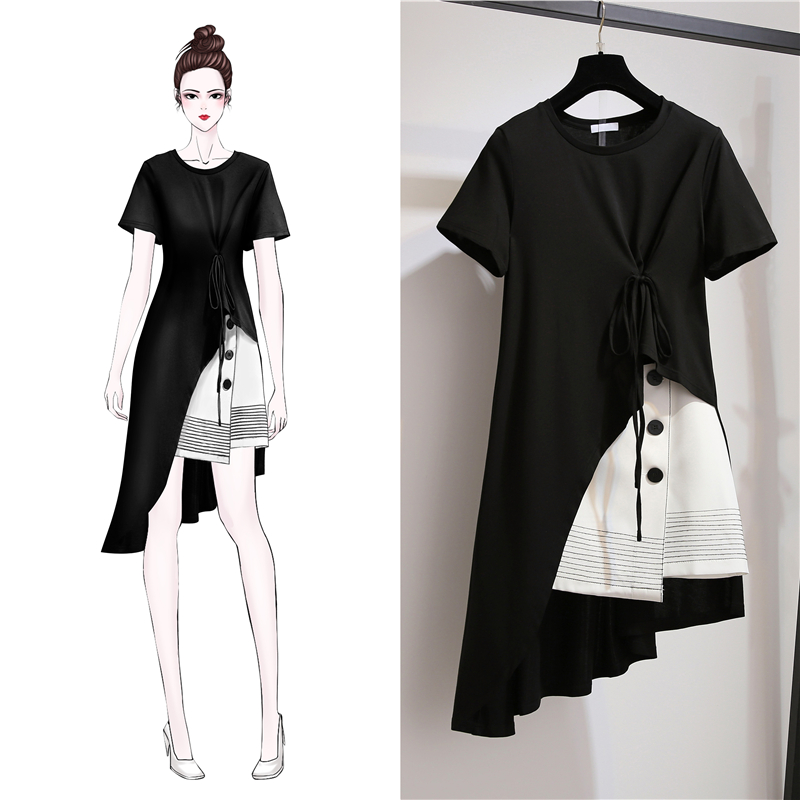 Fashion Korean Plus Size Women Set Dress Summer Dress 2020 New Women Short Sleeve 2 Piece Set Casual Women Short Skirt Suit 3XL