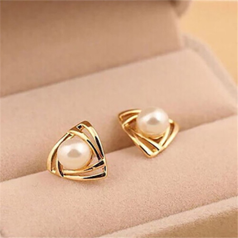 Us 1 21 45 Off Fashion Triangle Simulated White Pearl Earring Female Hollow Gold Silver Color Stud Earrings For Women Jewelry Accessory In