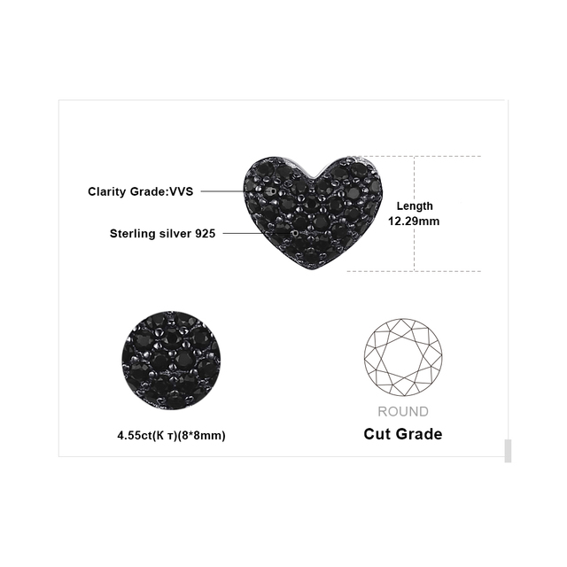 Black Spinel Heart Stud Earrings